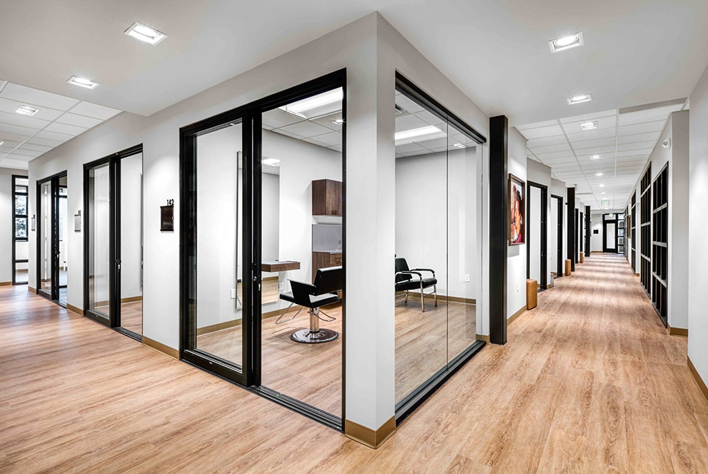 Orem Indie Studio Suites hallway and salon suites interior view with chairs