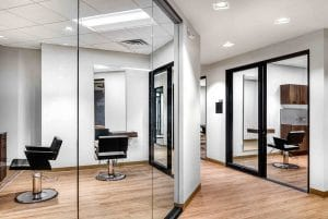 Orem Indie Studio Suites hallway and salon suite view with chairs