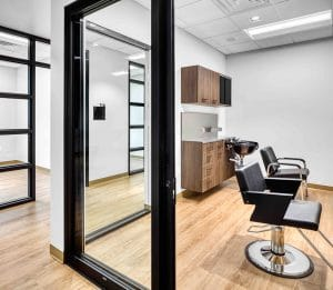 interior of salon suite with cosmetology chairs in Orem Indie Studio Suites