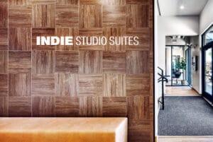 Bountiful Indie Studio Suites entryway with logo