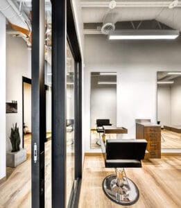 view inside an Indie Studios Bountiful salon suite