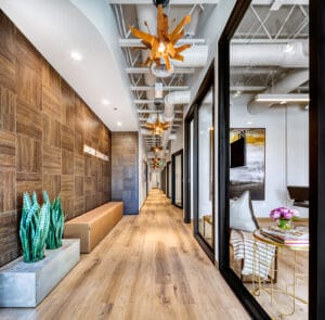 hallway view of Bountiful studio salon suites